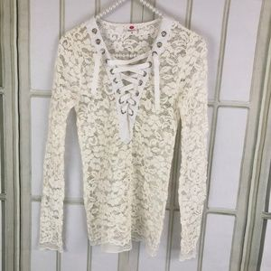 Wanna This Girls Ivory Sheer Crochet Lace Top